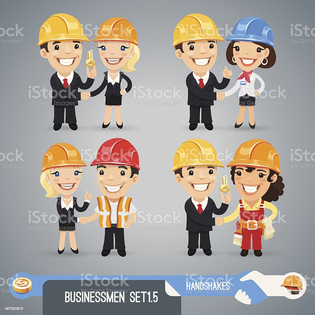 Businessmen Cartoon Characters Set1.5 vector art illustration