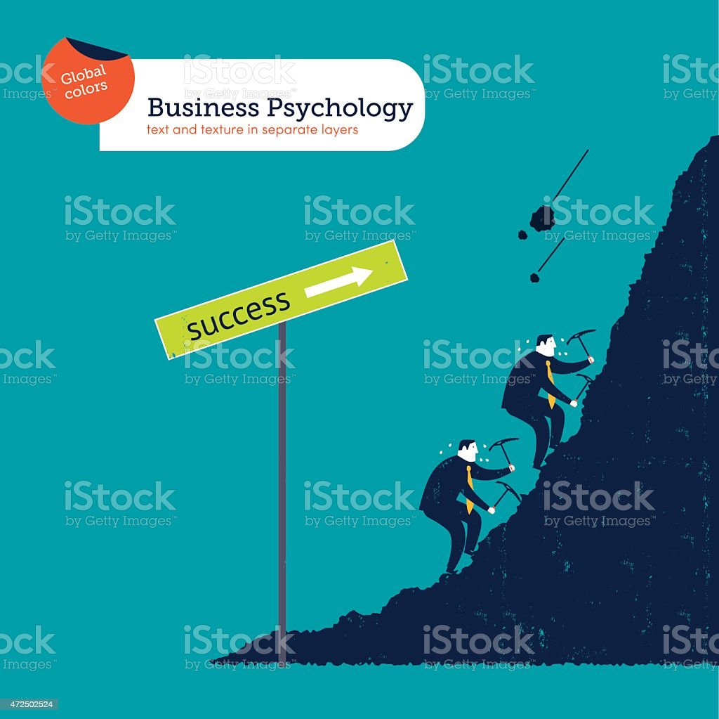 Businessmen climbing the mountain of success vector art illustration