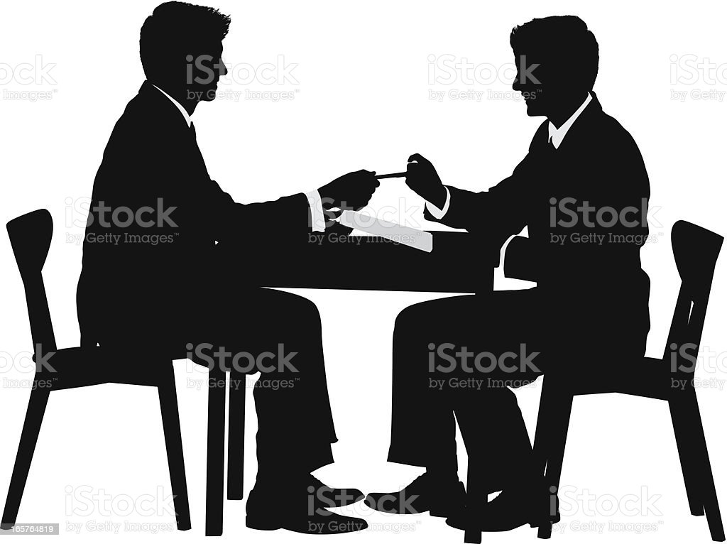 Businessmen closing the deal signing contract vector art illustration