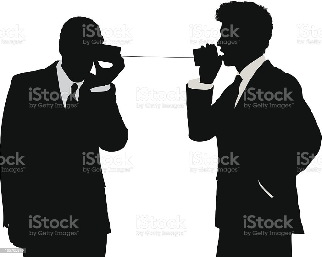 Businessmen communicating with can phone vector art illustration