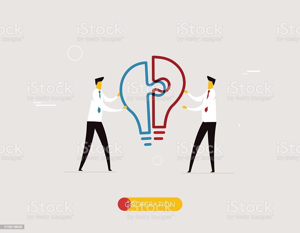 Businessmen connect lamp puzzle vector art illustration