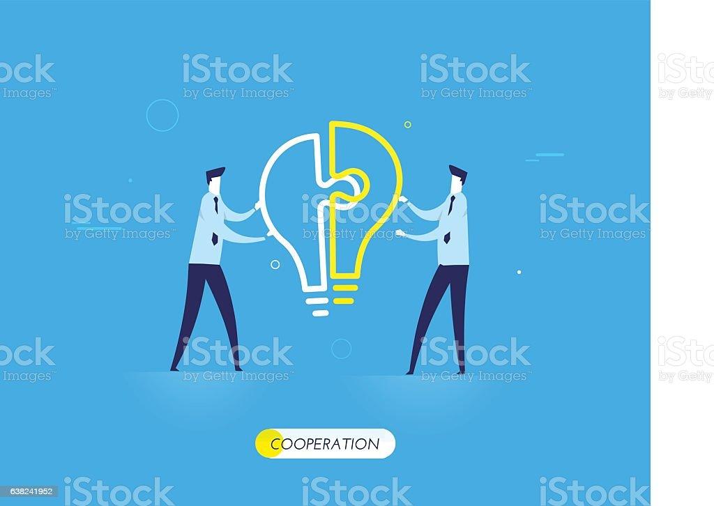 Businessmen connect lamp puzzle. vector art illustration