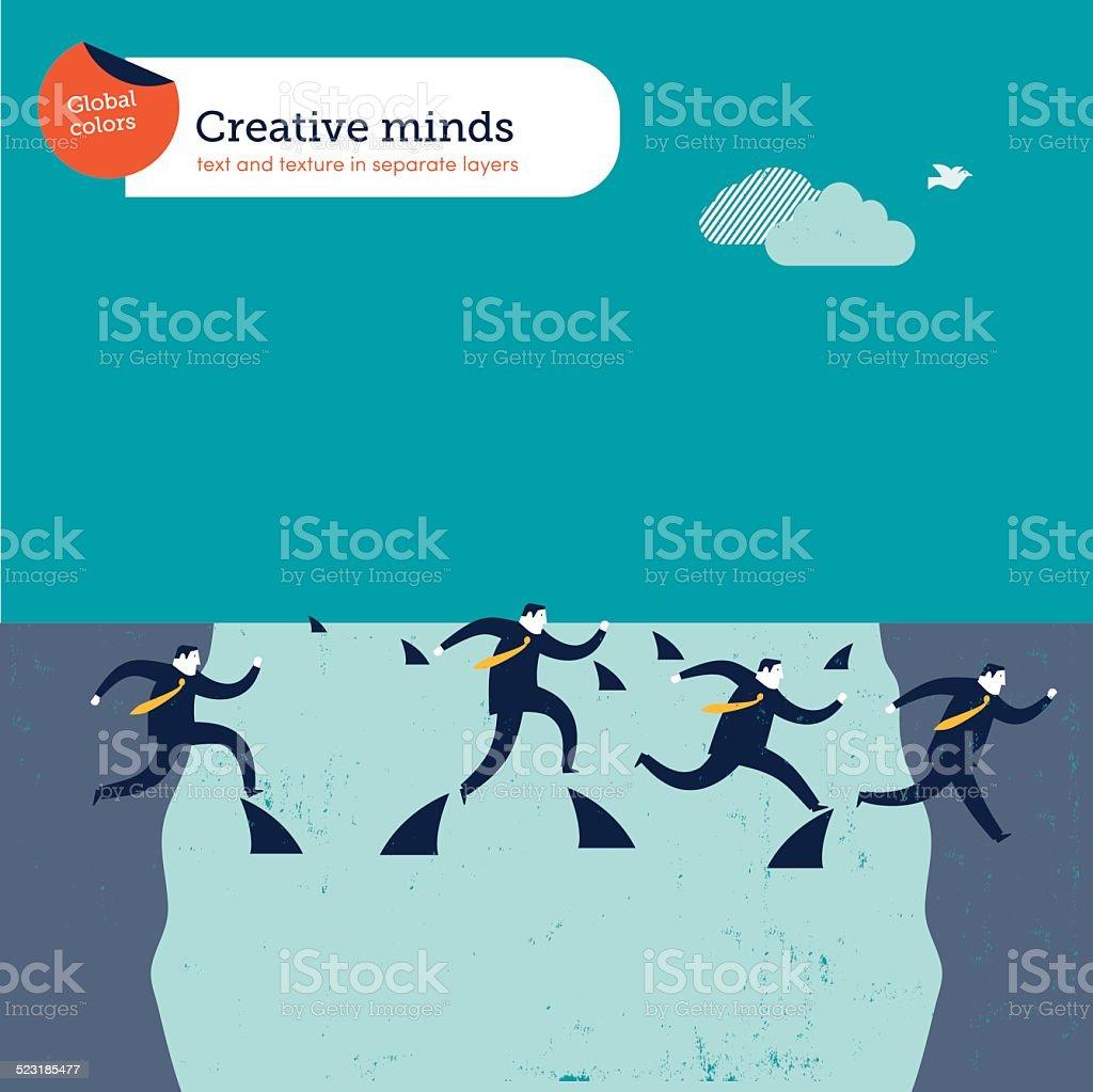 Businessmen crossing a river with sharks vector art illustration