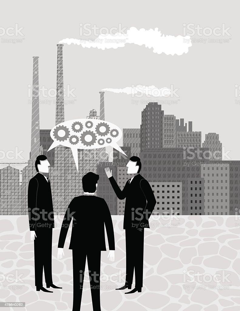 Businessmen Discussing Factory Building Ideas Vertical Poster vector art illustration
