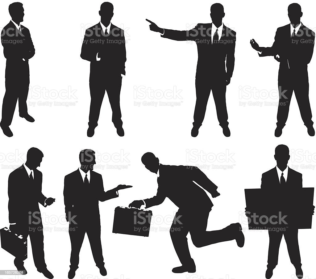 Businessmen doing different activities royalty-free stock vector art