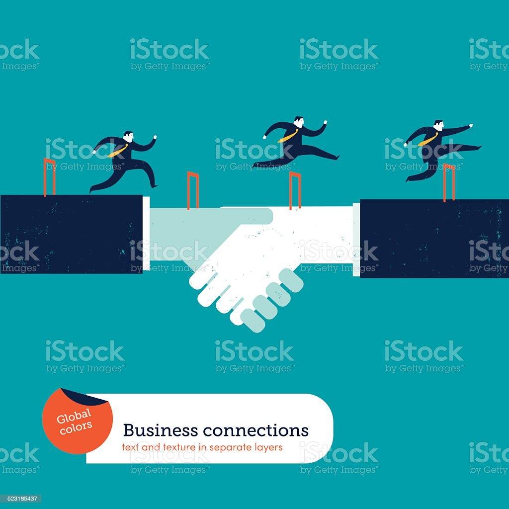 Businessmen doing steeplechase vector art illustration