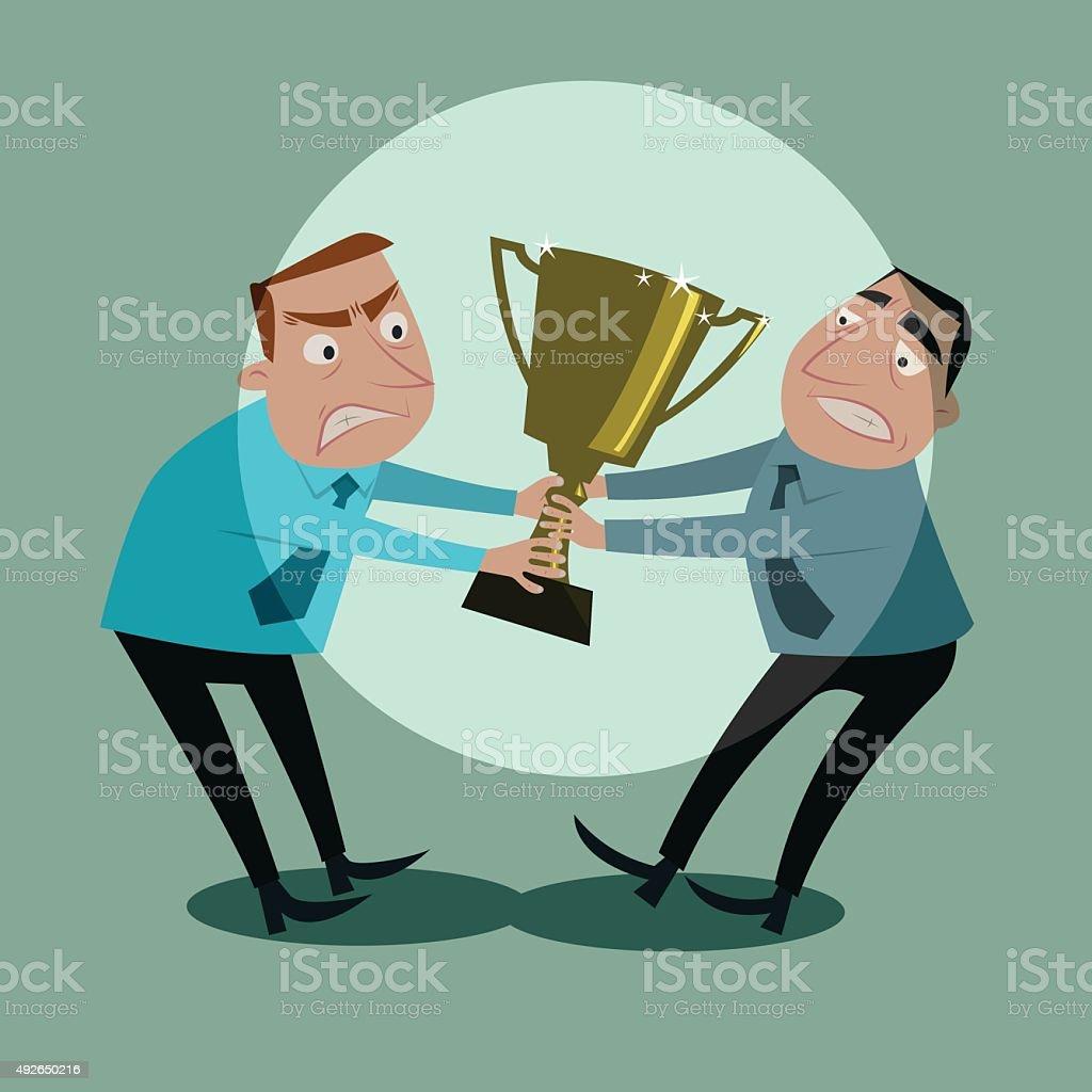 Businessmen fight for tropy. vector art illustration