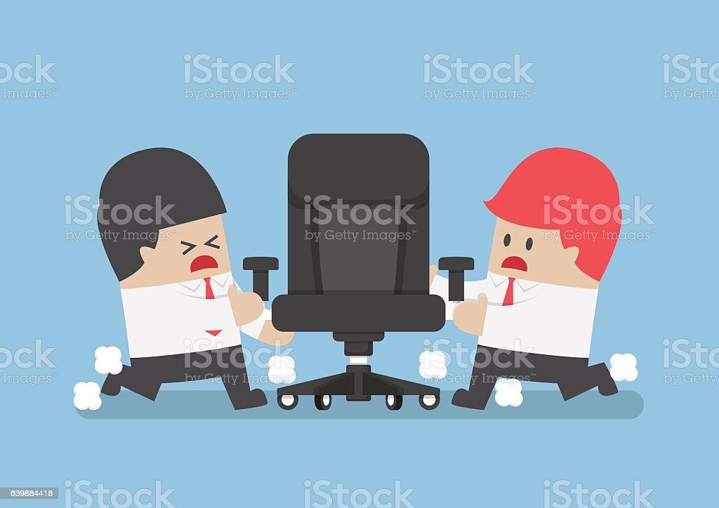 Businessmen fighting for ceo chair vector art illustration