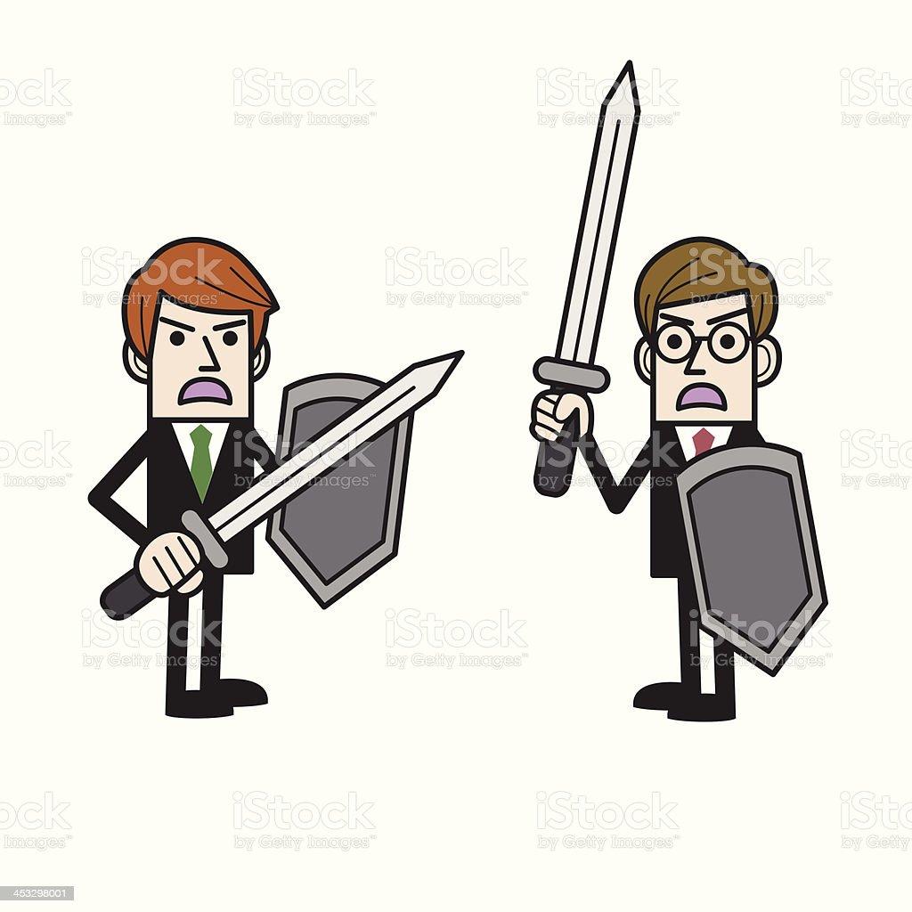 Businessmen fighting vector art illustration