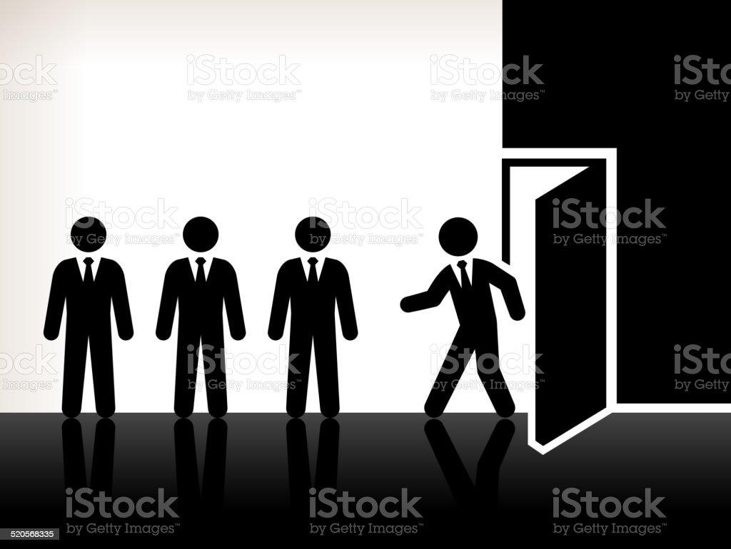 Businessmen Foot Through Door royalty free vector art vector art illustration