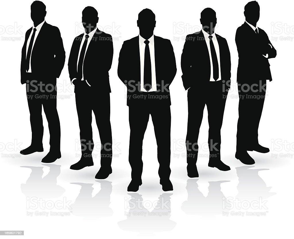 businessmen Group of Five vector art illustration