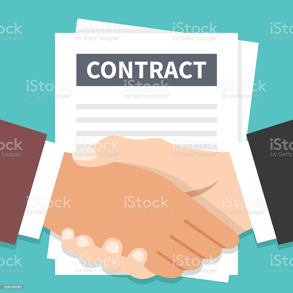 Businessmen handshake and contract flat illustration. Vector illustration vector art illustration