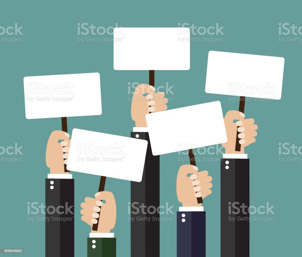 Businessmen holding signboard with the blank paper vector art illustration