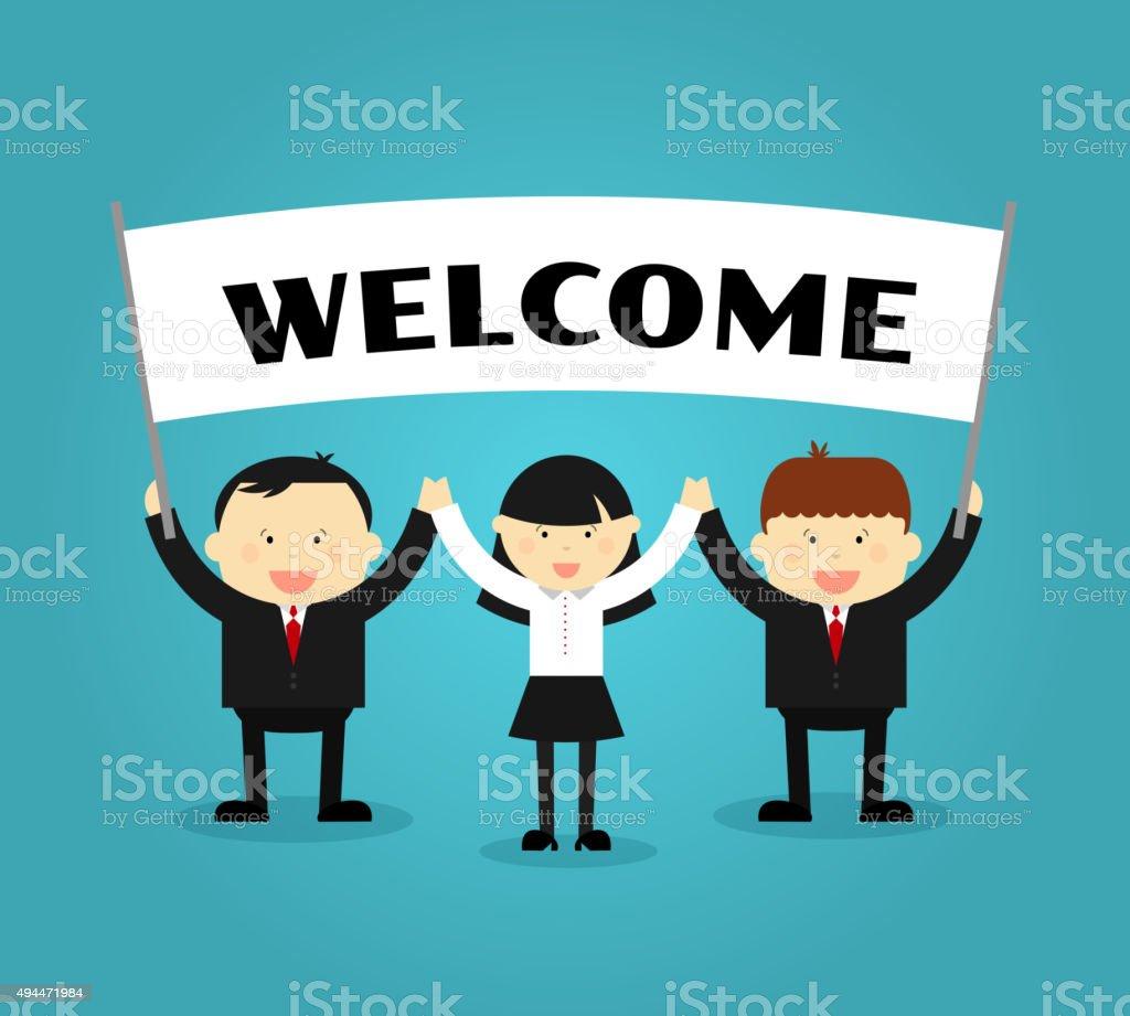 Businessmen holding welcome placard. Vector illustration vector art illustration