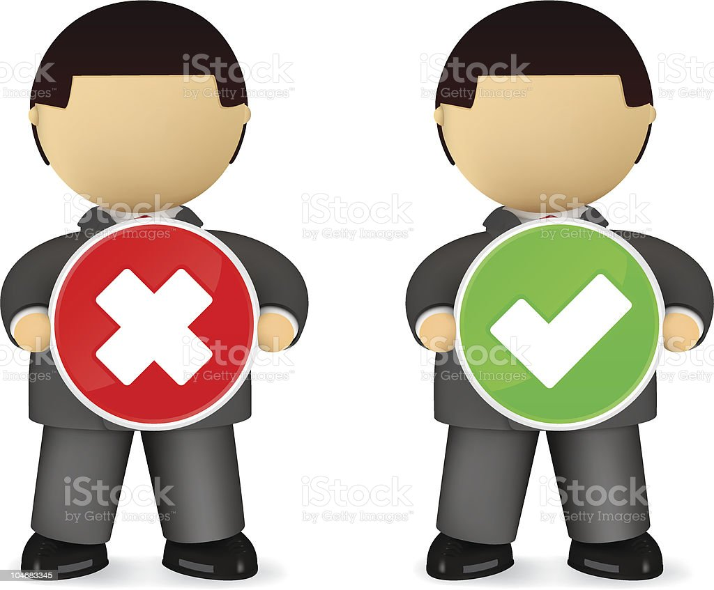 Businessmen holding 'Yes' and 'No' signs royalty-free stock vector art