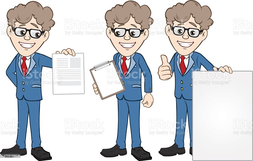 Businessmen Illustration with Banners royalty-free stock vector art