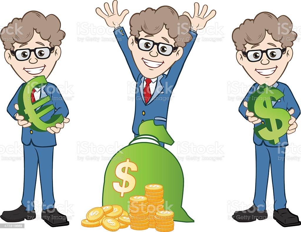 Businessmen Illustration with Money vector art illustration