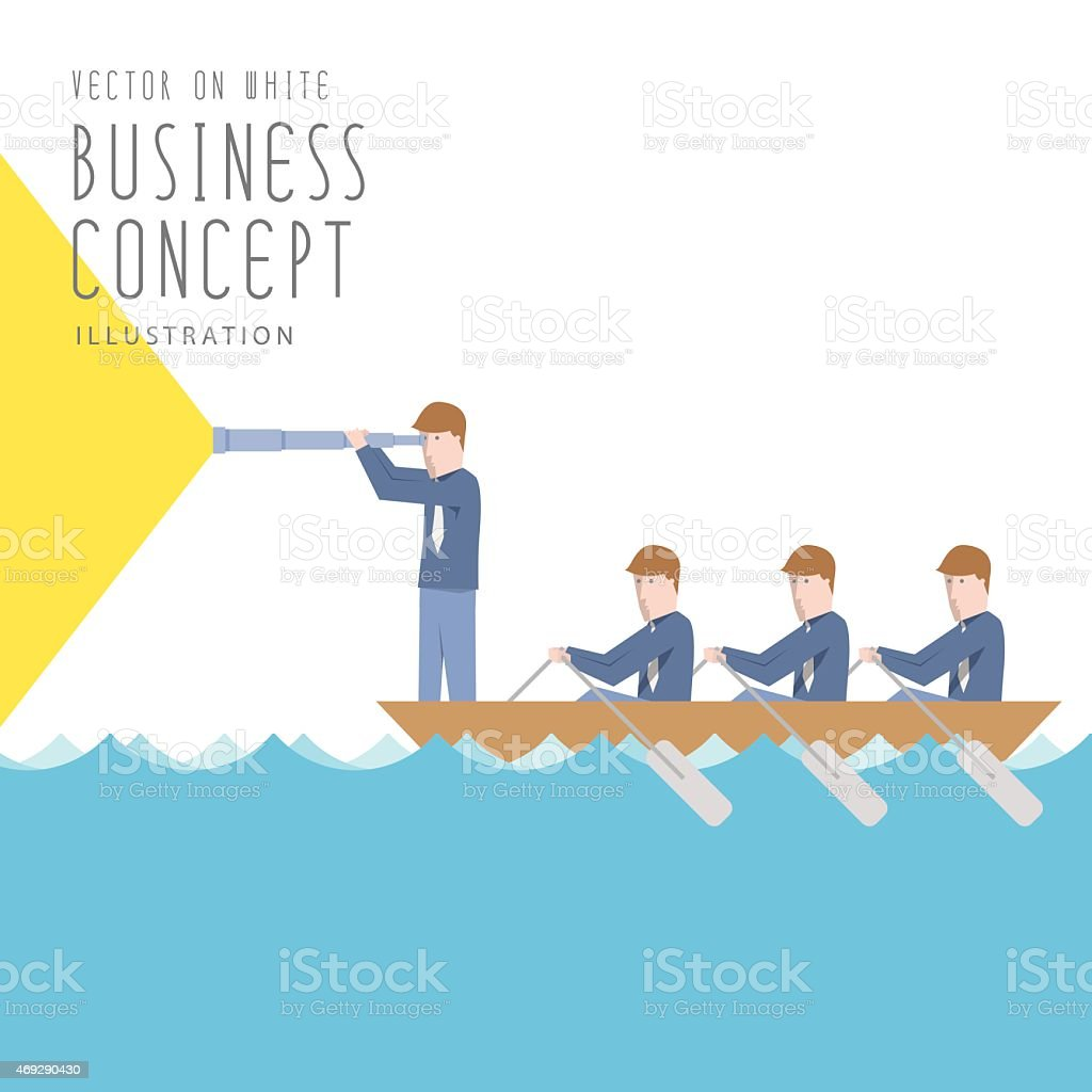 Businessmen in a boat with telescope flat vector. vector art illustration
