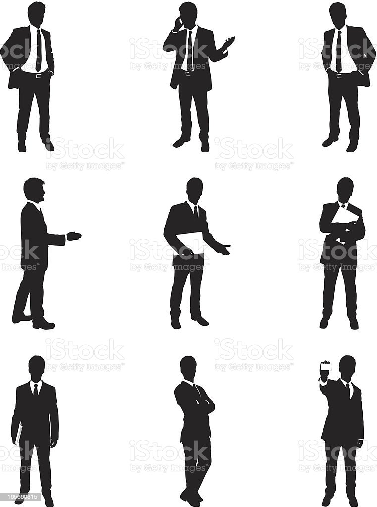 Businessmen in business poses royalty-free stock vector art