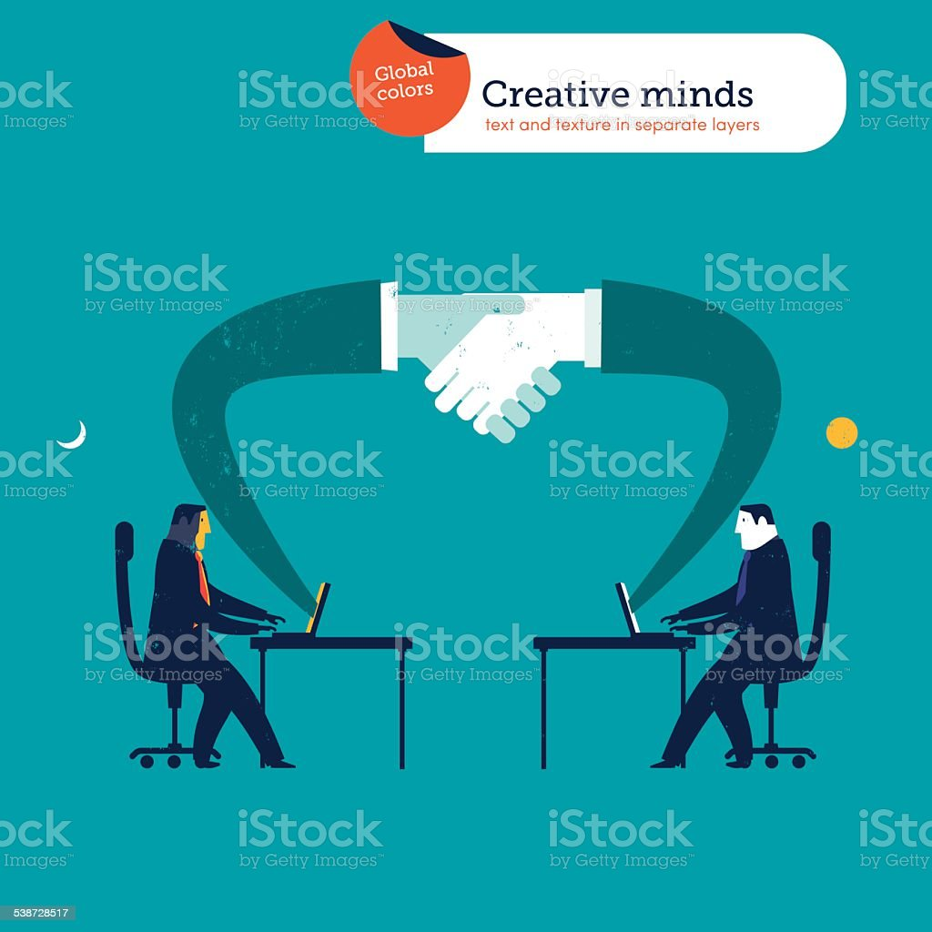 Businessmen in different parts of the world shaking hands vector art illustration