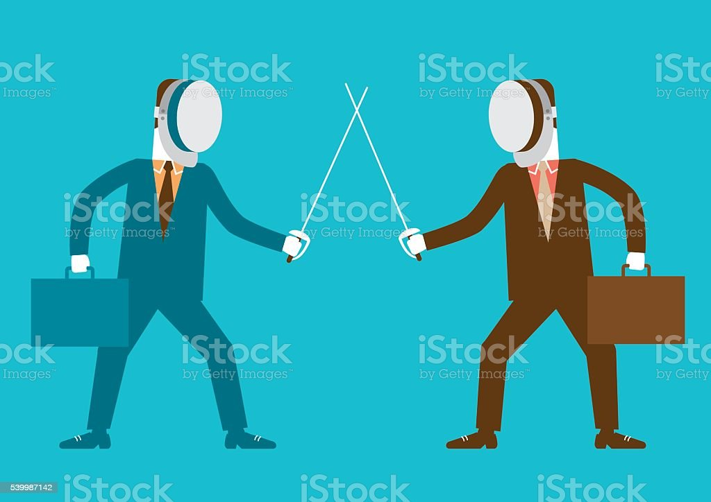 Businessmen in Fencing Stance | New Business Concept vector art illustration