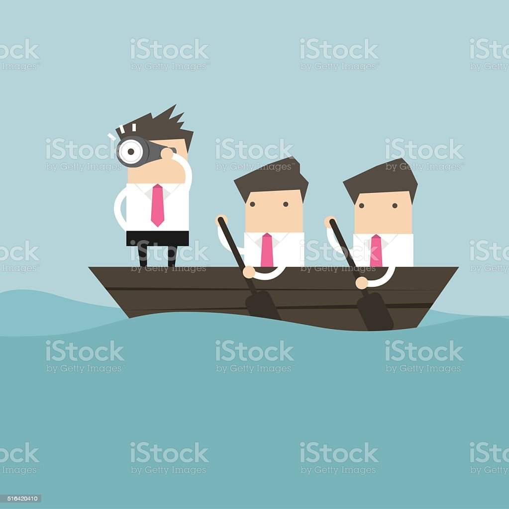 Businessmen in rowing boat two rowers one captain manager vector art illustration