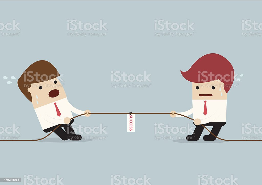 Businessmen in tug-of-war competition vector art illustration