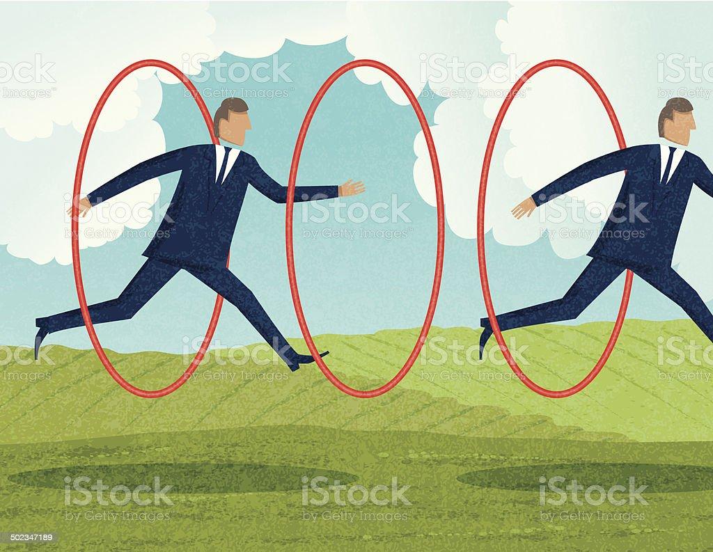 Businessmen Jumping Through Hoops vector art illustration
