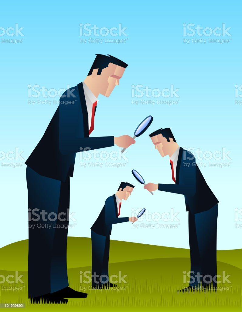 Businessmen looking for something royalty-free stock vector art