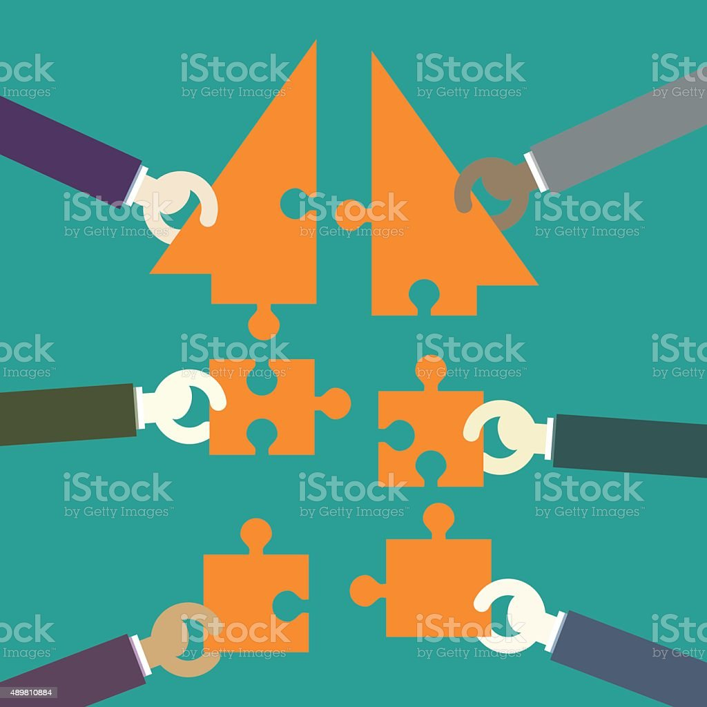 Businessmen making a building puzzle which is an arrow vector art illustration