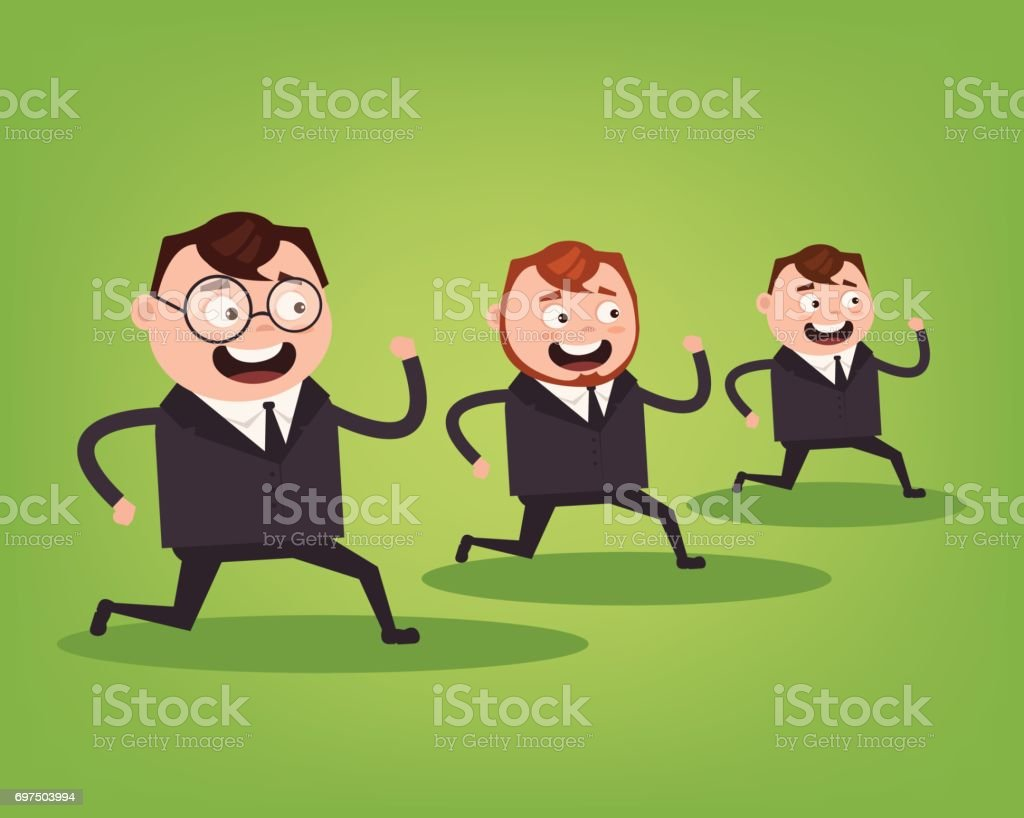 Businessmen office workers characters running. Competition concept vector art illustration