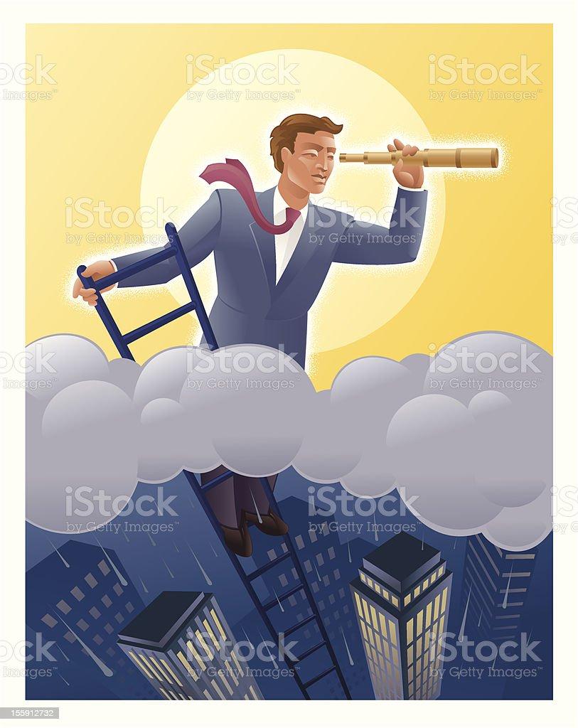 Businessmen on Ladder Looking above the Storm vector art illustration