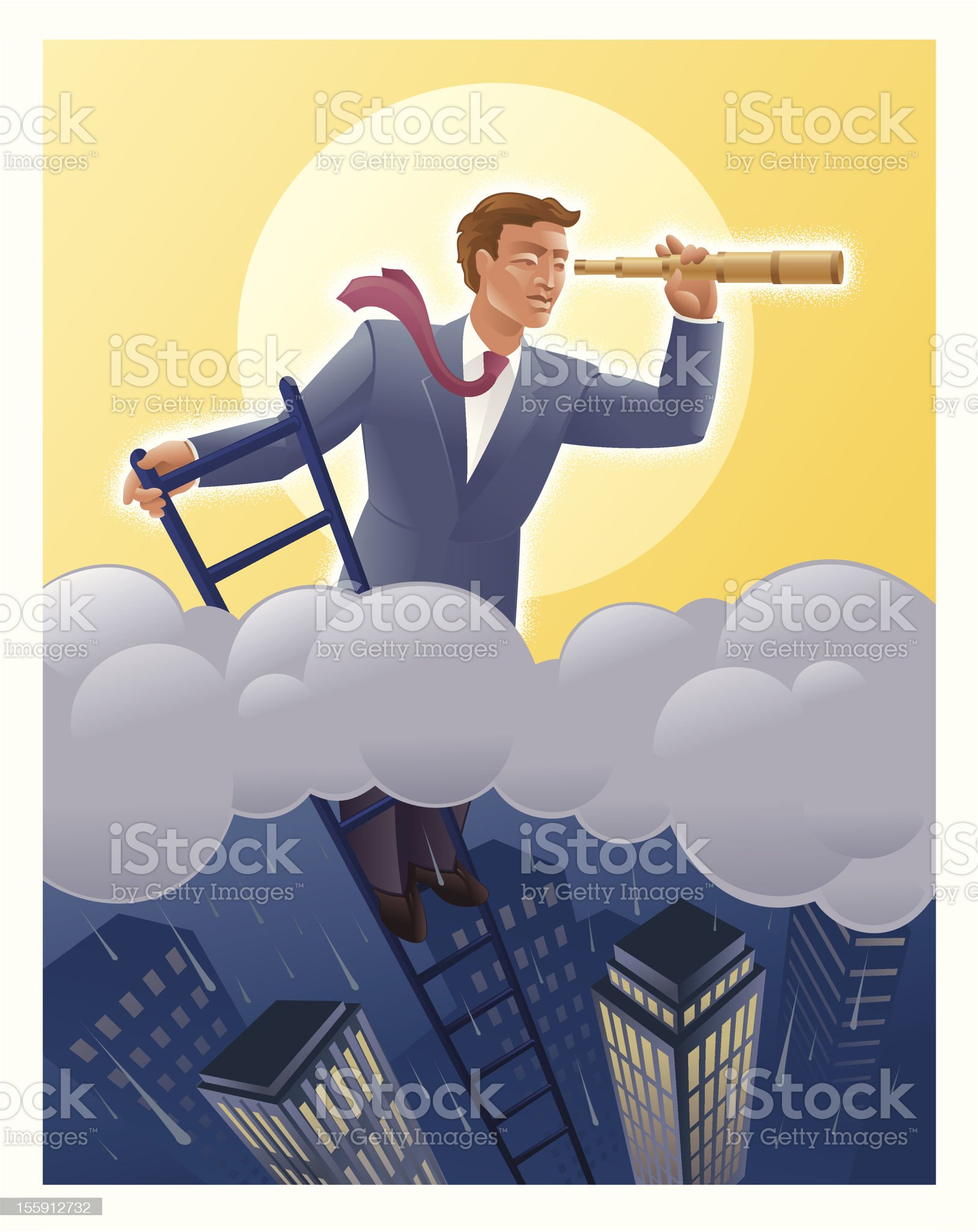 Businessmen on Ladder Looking above the Storm royalty-free stock vector art