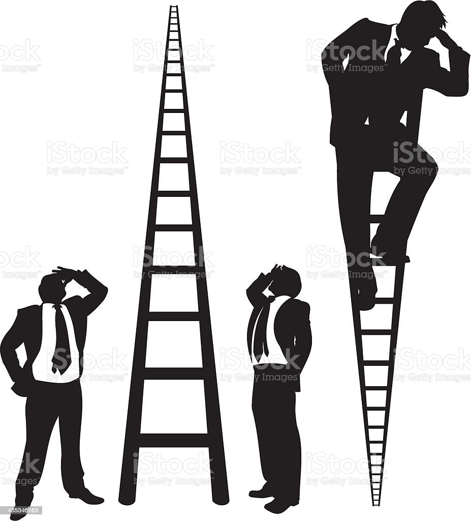 Businessmen on Ladders vector art illustration