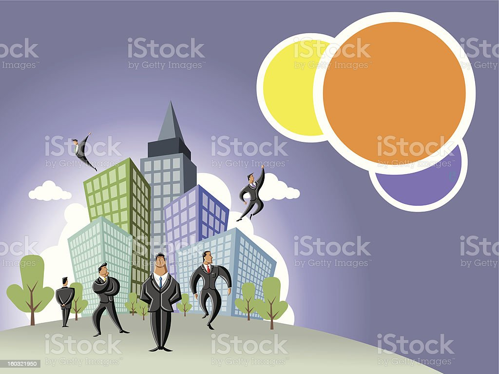 businessmen over city with buildings royalty-free stock photo
