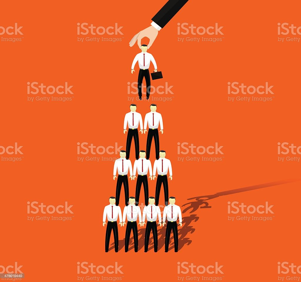 Businessmen promotion to higher position vector art illustration