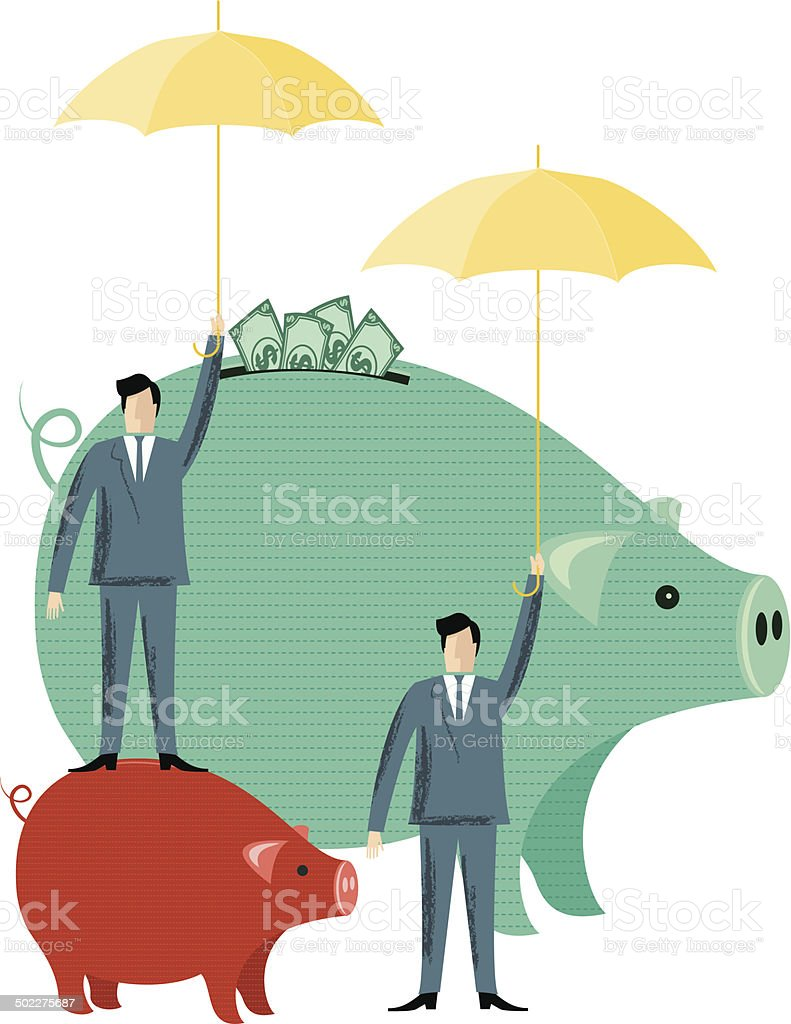 Businessmen Protecting Their Investment royalty-free stock vector art