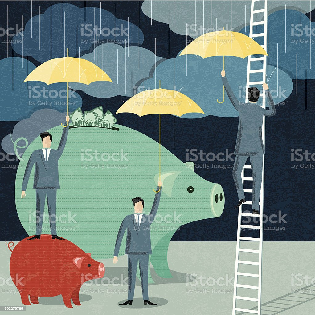 Businessmen Protecting Their Investment vector art illustration