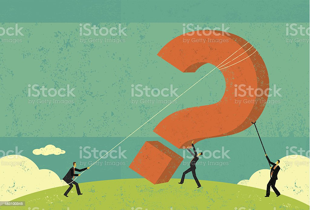 Businessmen raising a question mark vector art illustration