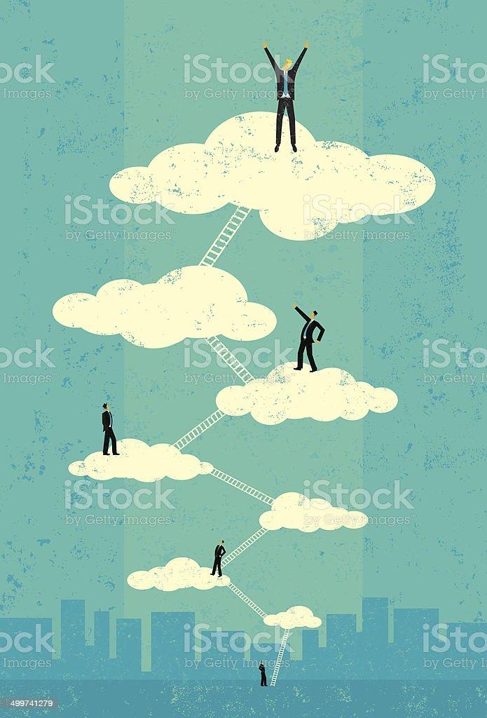 Businessmen reaching seventh heaven vector art illustration