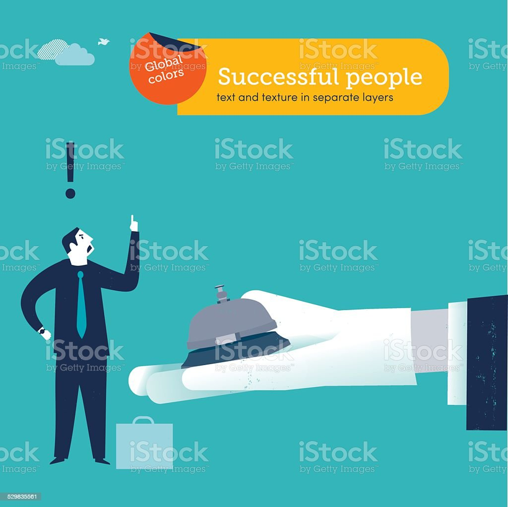 Businessmen ringing a service bell on hand with white glove vector art illustration