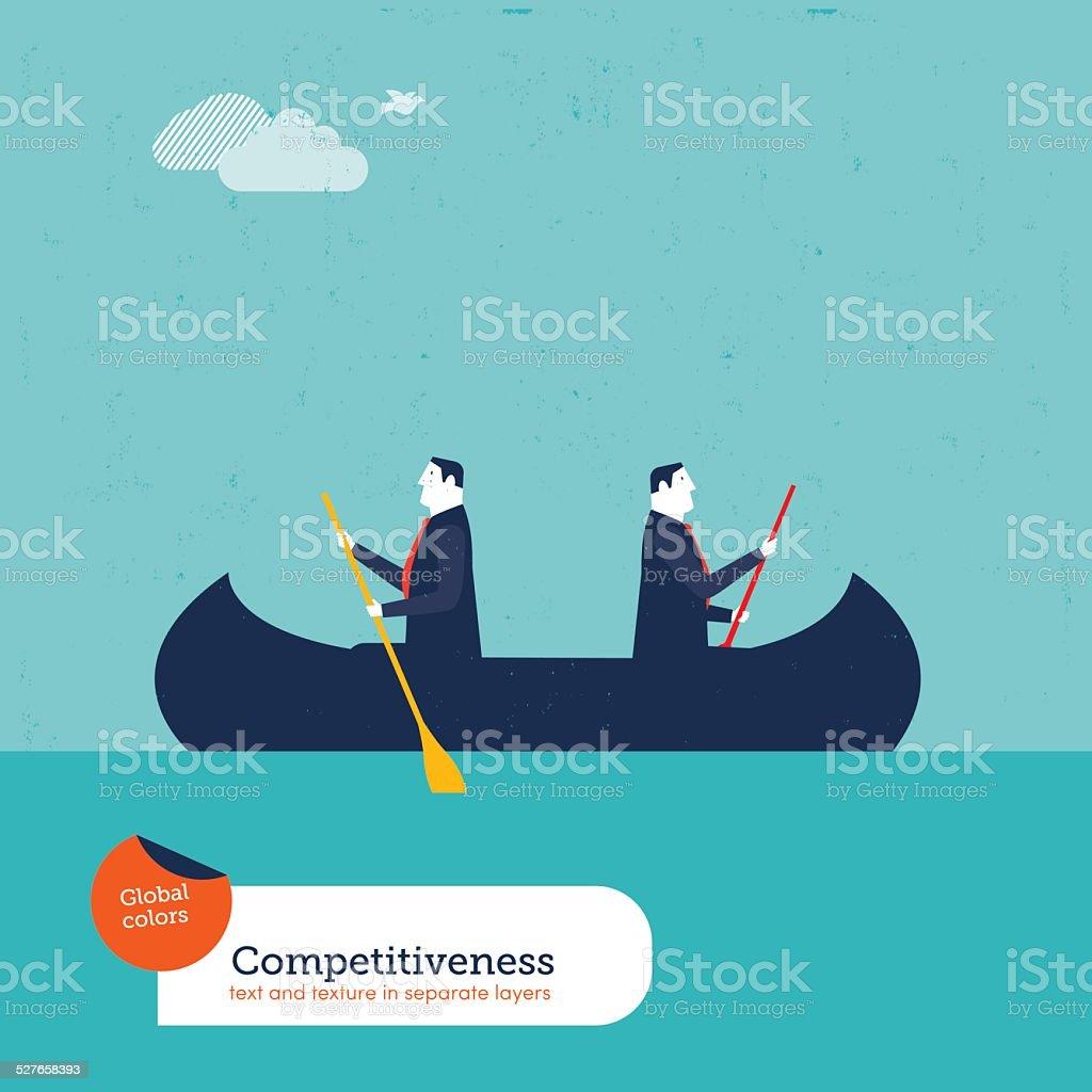 Businessmen rowing in opposite directions vector art illustration