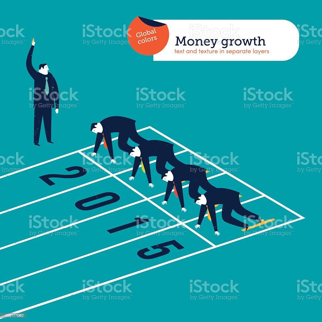Businessmen runners on a 2015 athletics track vector art illustration