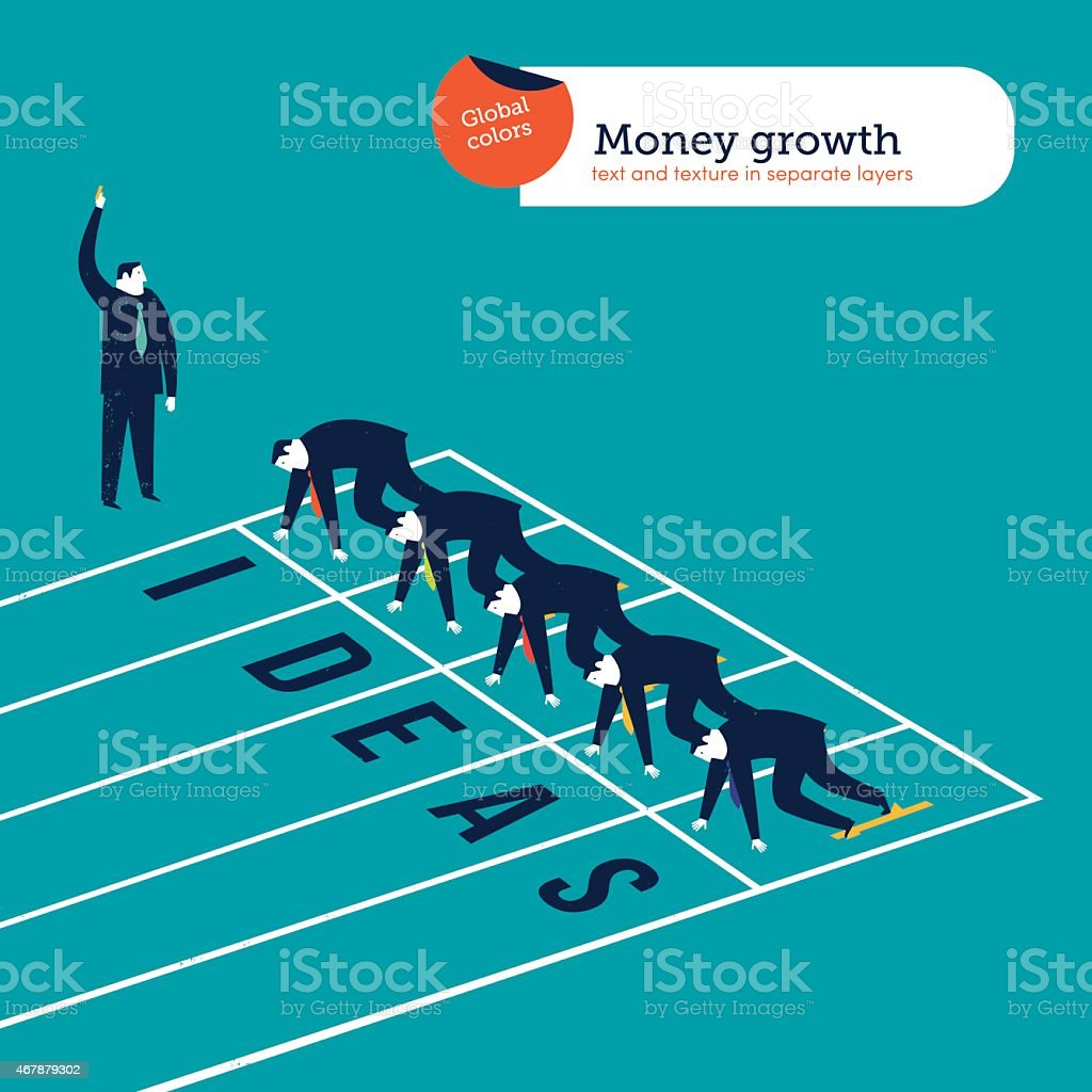 Businessmen runners on an ideas athletics track vector art illustration