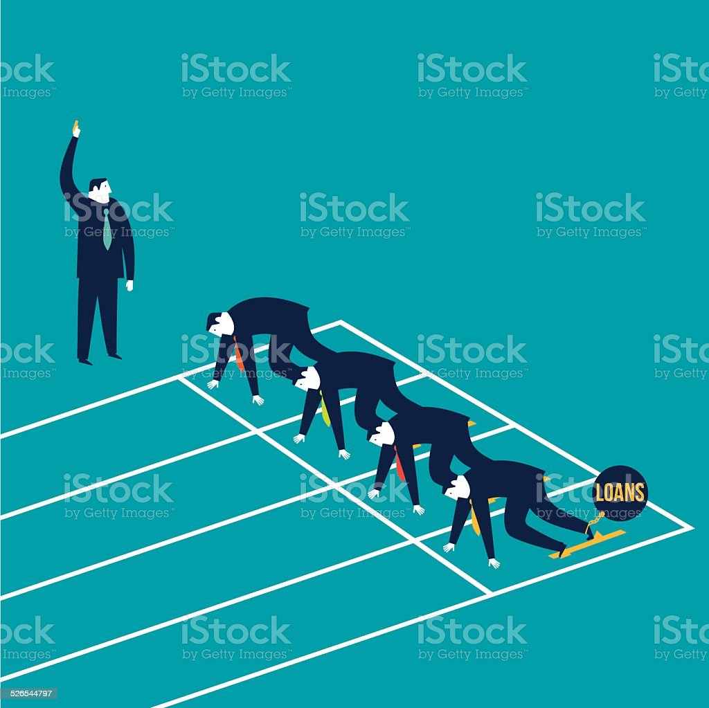 Businessmen runners one with ball and chain loans vector art illustration