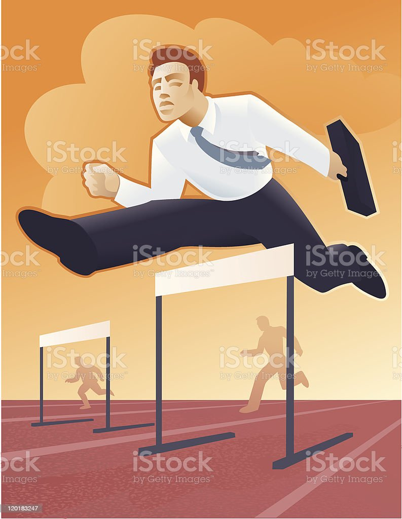 Businessmen running a competitive race royalty-free stock vector art