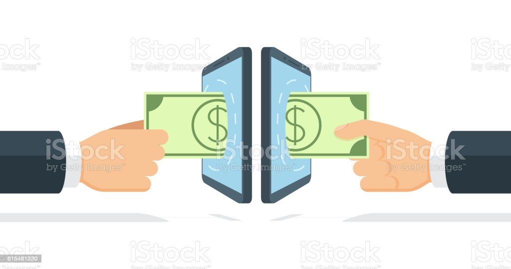 Businessmen sending and receiving money by means of wireless technology royalty-free stock vector art