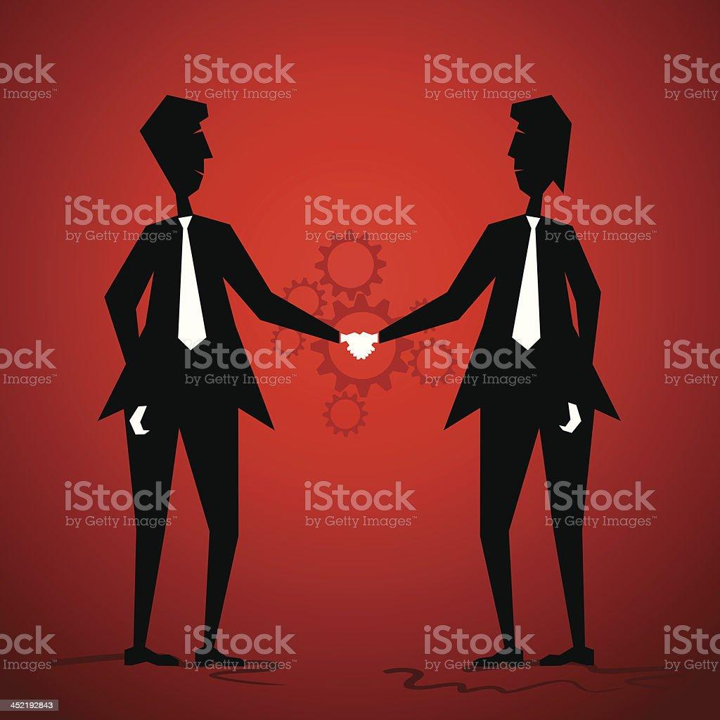 businessmen shake hand vector art illustration