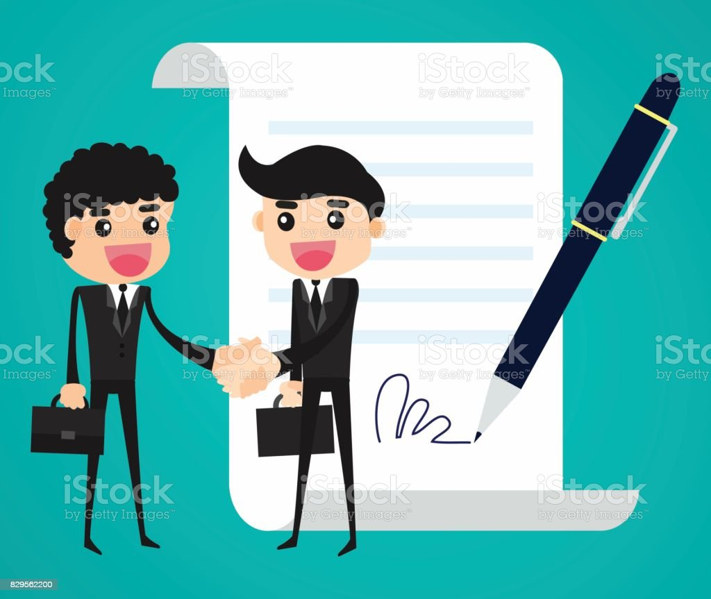 businessmen shaking hand and agree to sign contract. Business agreement concept. vector art illustration