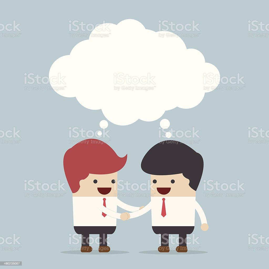 Businessmen shaking hands and blank speech vector art illustration